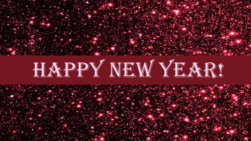 burgandy glitter background with Happy New Year text in white