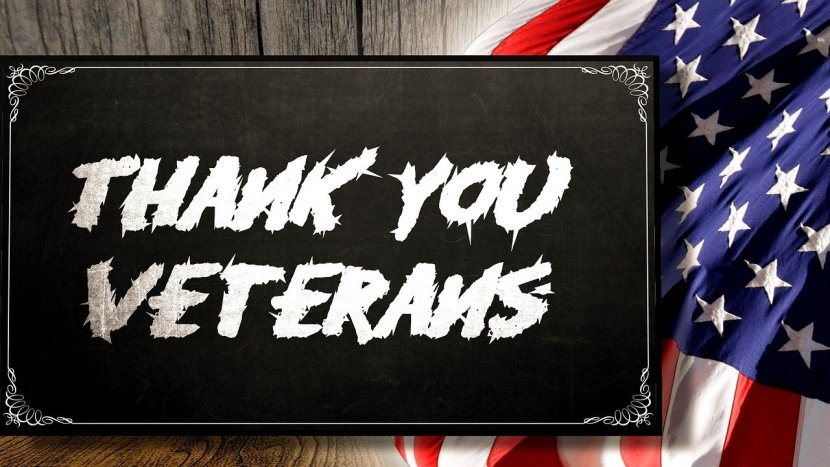 Thank You Veteran's sign with U.S. flag