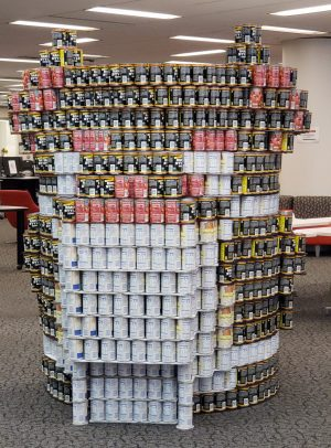 """""""CAN UC my mask"""" canned sculpture."""