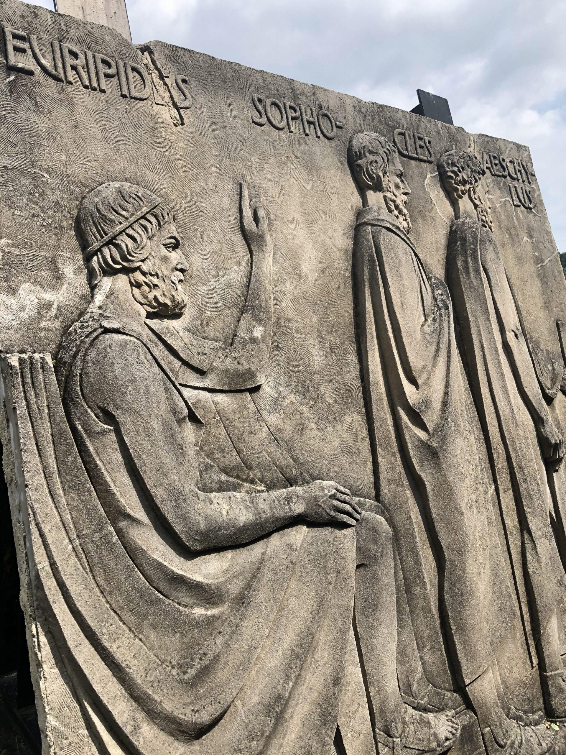 fishwick relief with euripides, sophocoles