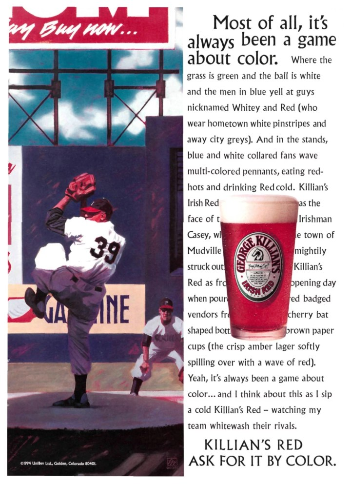 Killian's Red Ad from Sport's Illustrated February 14 1994 Donald Newcombe likeness