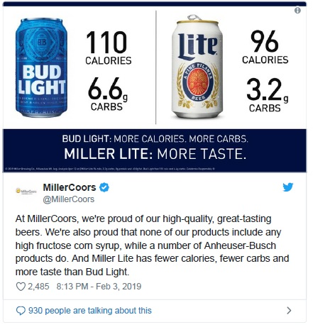 Miller Coors v. Anheuser Busch Screen Grab of Tweet other AB products and Corn Syrup