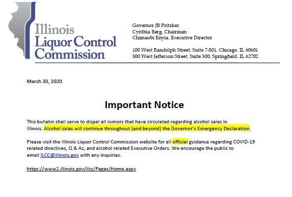 ILCC - Notice Liquor Sales Continue