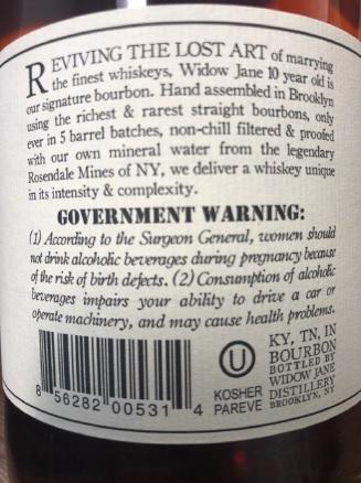 Widown Jane back label picture from complaint