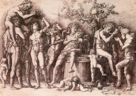 Andrea Mantegna (1430/31–1506), Bacchanal with a wine vat, ca. 1470-90, Engraving and drypoint, 11.75 x 17.25 in. MMA 1986.1159