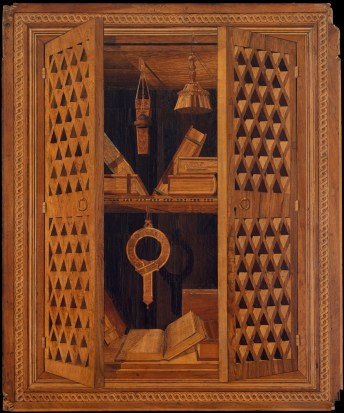 Detail from Studiolo from the Ducal Palace in Gubbio, designed by Francesco di Giorgio Martini, executed in the workshop of Giuliano da Maiano and Benedetto da Maiano, ca. 1478-82, Walnut, beech, Rosewood, oak and fruitwoods in walnut base. 15ft, 10 15/16 in. x 16 ft, 11 15/16 in. x 12 ft., 7 3/16 in. MMA 39.153