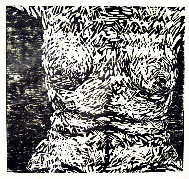 A woodcut figure study I did after my house washed away in a flood. I had to rebuild my portfolio to get into grad schools quickly.