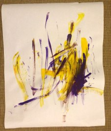 "Collab 011016 18"" x24"" or so First directed painting from the easel: ""Monster Watching TV"" Sorry they are not as cleanly shot, it's hard as I cannot scan them. And I picked it up before my ink was dry. M though it was okay, although I had to move the TV from where she said it was."
