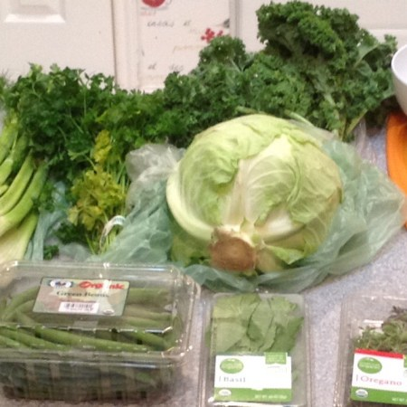 Green vegetables and herbs