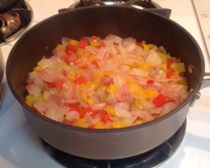 Onions, peppers, and garlic