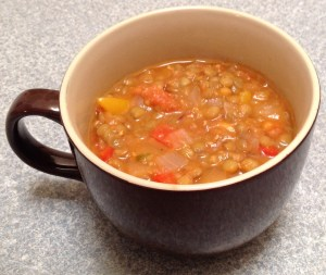 Tomato and basil lentils