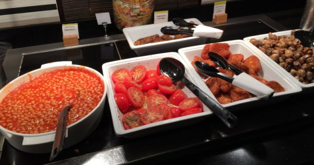 Doubletree Victoria Breakfast Buffet - Beans, Tomotoes, Potatoes, Mushrooms, and Veggie Sausage