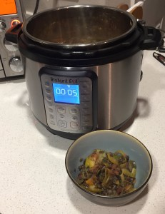 Lentils and veggies in instant pot