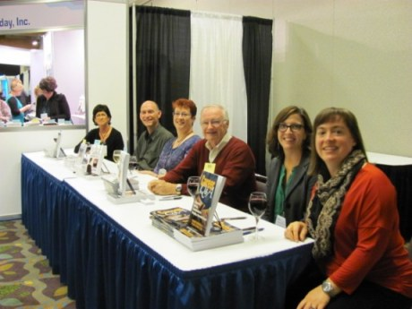 Authors of newly-published books by Information Today signed copies of their works. (L-R) Marcy Phelps, David Lee King, Ruth Kneale, Don Hawkins, Susanne Markgren, and Tiffany Eatman Allen