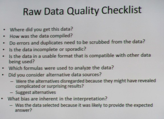 Raw Data Quality Checklist