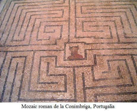 11.5.7.1 Labirint cu Minotaurul. Mozaic roman de la Conímbriga, Portugalia