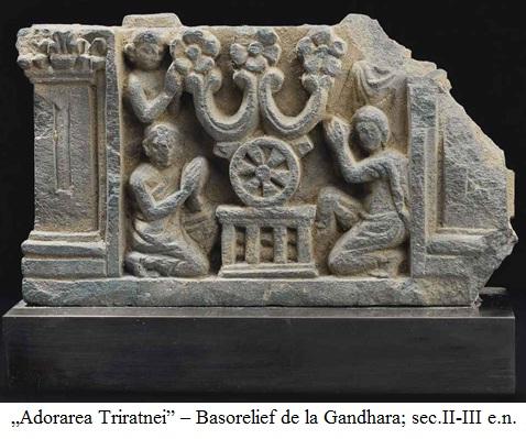 "12.2.7.10 ""Adorarea Triratnei"" – Basorelief de la Gandhara; sec.II-III e.n."