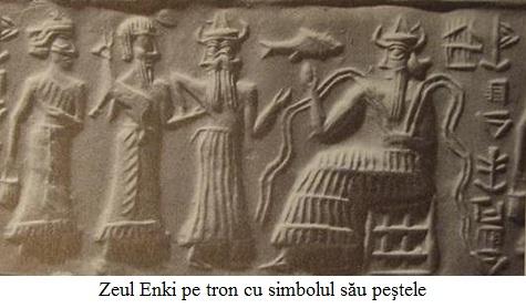 13.3.5.01 Zeul Enki pe tron cu simbolul său peştele