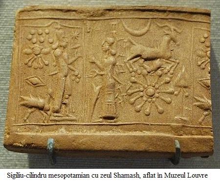 2.6.4.1 Sigiliu-cilindru mesopotamian cu zeul Shamash, aflat în Muzeul Louvre
