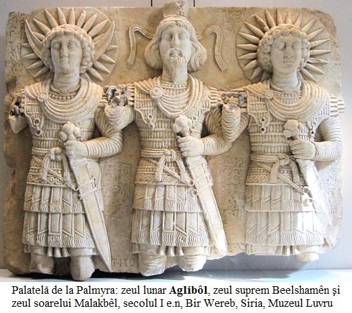 2.6.6.1 Palatelă de la Palmyra - zeul lunar Aglibôl , zeul suprem Beelshamên şi zeul soarelui Malakbêl , secolul I e.n, Bir Wereb, Wadi Miyah, Siria, Muzeul Luvru