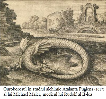 8.7.9.1 Ouroborosul în studiul alchimic Atalanta Fugiens (1617) al lui Michael Maier, medicul împăratului Rudolf al II-lea