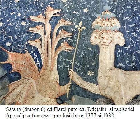 9.5.8.1 Satana (dragonul) dă Fiarei mării puterea. Ddetaliu din panoului III.40 al tapiseriei medievale Apocalipsa franceză, produsă între 1377 și 1382.