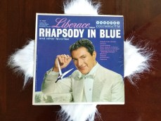 "Liberace ""Rhapsody in Blue"" Album Clock with fur"