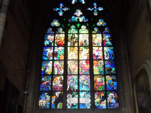 Religious stained glass windows in Prague, Czech Republic