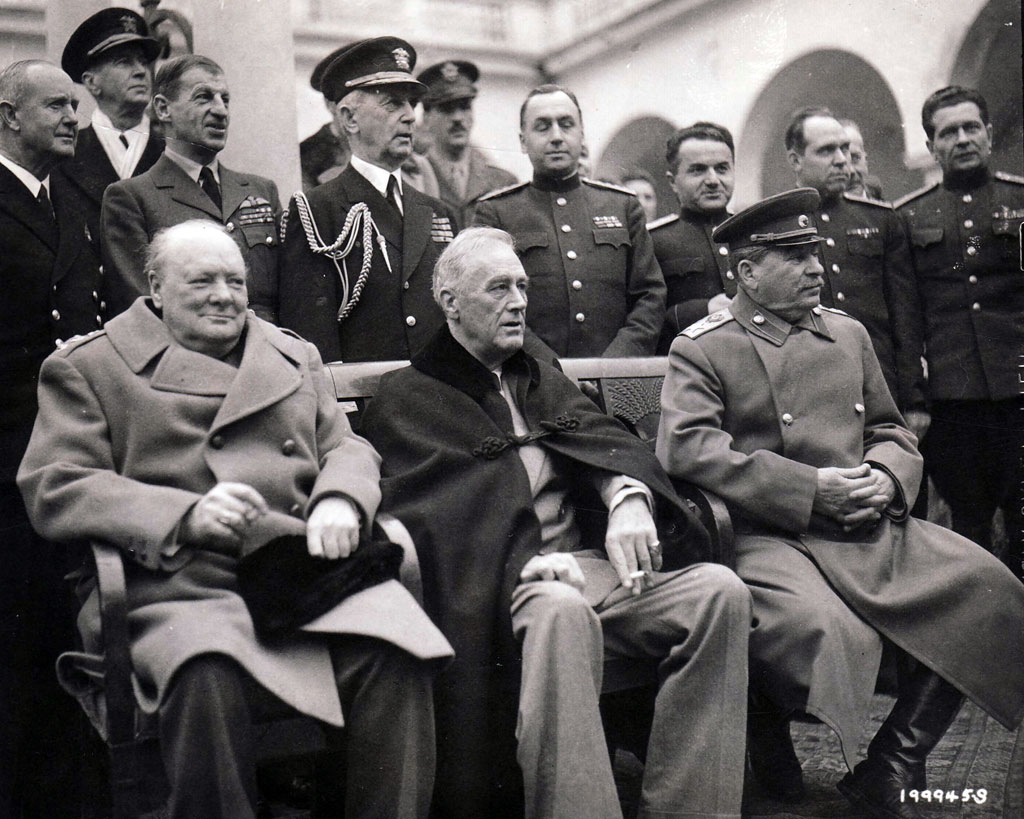 The Big Three at Yalta: Churchill, Roosevelt, and Joseph Stalin on the terrace of the Villa Livadia. The president had but two months to live.