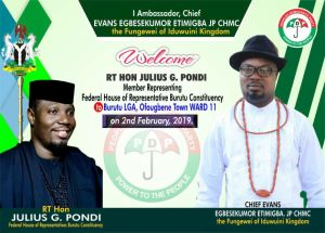Amb. Evans Welcomes Pondi, Other PDP Faithfuls to Ofougbene
