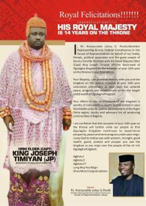 Pondi celebrates King of Ogulagha kingdom as he marks 14 years on the throne