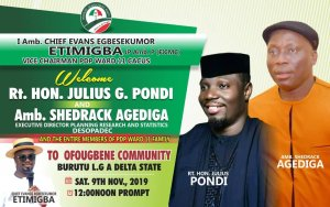 PDP: Chief Evans welcomes Pondi, Agediga, others to Ofougbene