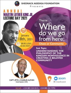 Zoom: SAF Invites General Public To Participate In 2021Martin Luther King Jr Day Lecture Today
