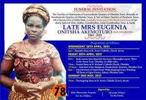 Obotebe To Boil As Late Mrs Akemotubo Journeys Home For Burial On Friday