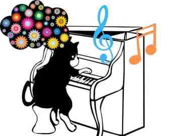 chat qui fait travailler sa mémoire au piano