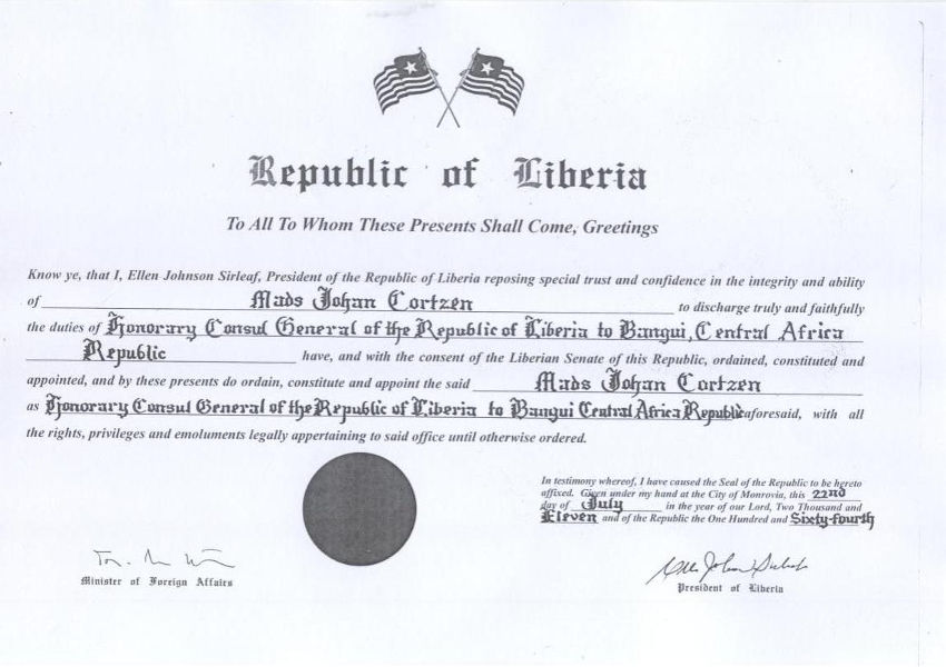Brugger's diplomatic acreditation with President Sirleaf's signature affixed