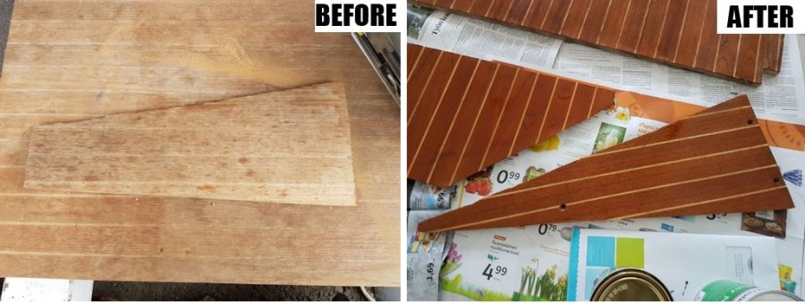 Floorboards before and after