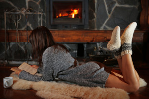 readers reading by the fire