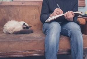 man micro-edits as he reads