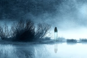woman in misty landscape, too misty, so story is stuck