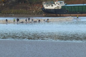 surfers battle Severn Bore
