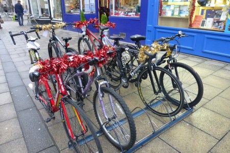 Christmas decorations on bikes in Hereford