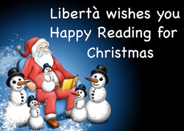 Libertà reading wishes for Christmas with Santa and snowmen