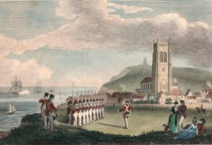 Tourists admire the militia at Cromer, Norfolk