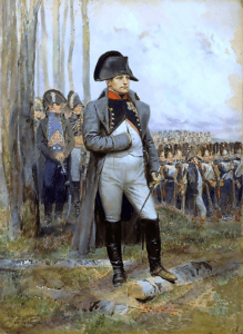 Napoleon in battle dress, standing with troops