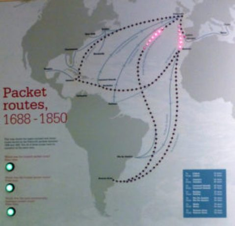 sea packet routes from Falmouth 1688-1850