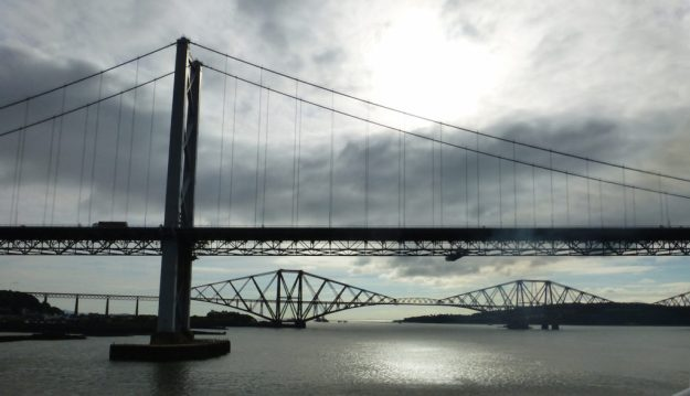 Forth road bridge (foreground), Forth Bridge (background)