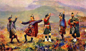 regiments of soldiers doing highland dancing