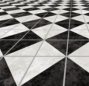 Royal Wedding, black and white marble floor