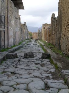 Pompeii street with stepping stones
